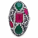 8.10 Grams Red, Green, White & Black Crystal .925 Sterling S