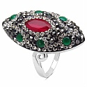 6.80 Grams Red, Green, White & Black Crystal .925 Sterling Silv