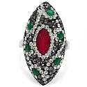 6.80 Grams Red, Green, White & Black Crystal .925 Sterling S
