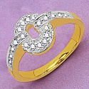 Gleam Touch 2.10 Grams White Cubic Zirconia Gold Plated Brass R