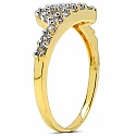 1.50 Grams White Cubic Zirconia Gold Plated Brass Ring