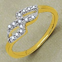 Gleam Touch 1.40 Grams White Cubic Zirconia Gold Plated Brass R