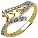 Gleam Touch 1.30 Grams White Cubic Zirconia Gold Plated Brass R