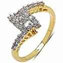 1.20 Grams White Cubic Zirconia Gold Plated Brass Ring