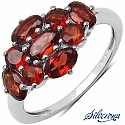 2.23CTW Genuine Garnet .925 Sterling Silver Ring