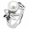 8.00 Grams Pearl & Marcasite .925 Sterling Silver Ring