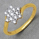 Gleam Touch 1.30 Grams White Cubic Zirconia Brass Gold Plated R