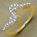 Gleam Touch 1.10 Grams White Cubic Zirconia Brass Gold Plated R