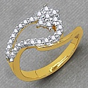 Gleam Touch 1.80 Grams White Cubic Zirconia Brass Gold Plated R