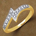 Gleam Touch 1.60 Grams White Cubic Zirconia Brass Gold Plated R