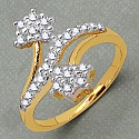 Gleam Touch 1.50 Grams White Cubic Zirconia Brass Gold Plated R