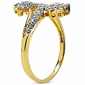 1.50 Grams White Cubic Zirconia Brass Gold Plated Ring