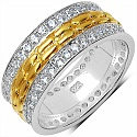 1.52CTW White Cubic Zirconia Gold Plated .925 Sterling Silver R