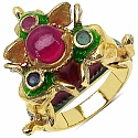 11.90 Grams Multi Gemstone Gold Plated .925 Sterling Silver Mul