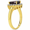3.85 Grams Garnet & White Cubic Zirconia Gold Plated Brass R