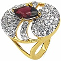 6.50 Grams Garnet & White Cubic Zirconia Gold Plated Brass R