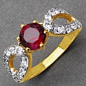 Gleam Touch 2.60 Grams Garnet & White Cubic Zirconia Gold Plate