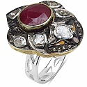 11.40 Grams Genuine Ruby, Polki & Diamond Two Tone Plated .9