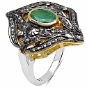 10.40 Grams Genuine Emerald & Diamond Two Tone Plated .925 S