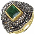 10.40 Grams Genuine Emerald & Diamond Gold Plated .925 Sterling