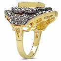 10.40 Grams Genuine Emerald & Diamond Gold Plated .925 Sterl
