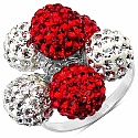 4.30 Grams Red Crystal & White Crystal .925 Sterling Silver
