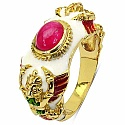 7.58 Grams Pink Glass Gold Plated .925 Sterling Silver Multi