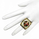 15.89 Grams Multicolor Glass Gold Plated .925 Sterling Silve