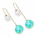 Gold Plated Peekaboo Pearl Fashion Earrings Adorned with Blu