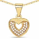 Gold Plated Heart Shape Designer Pendant Embedded with White Stone