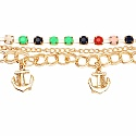 Chunky Multi Colour Stone Gold Plated Bracelet For Women