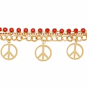 Chunky Red Colour Stone Peace Sign Bracelet For Women