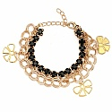 Chunky Black Colour Stone Butterfly Shape Bracelet For Women