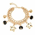 Chunky Black Color Stone Floral Star Shape Bracelet For Wome