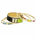 Multicolour Gold Plated Bangle Set Of 5 Pcs For Women