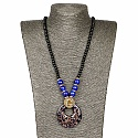 Gold Plated Tribal Style Blue Fashion Necklace For Women