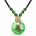 Gold Plated Tribal Style Green Fashion Necklace For Women