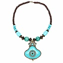 Oxidized Gold Plated Tribal Style Turquoise Beaded Fashion Neck