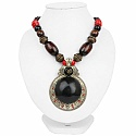 Oxidized Gold Plated Tribal Style Red Beaded Fashion Necklac