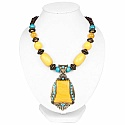Oxidized Gold Plated Tribal Style Yellow Beaded Fashion Neck
