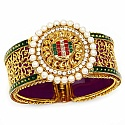 Traditional Rajwadi Gold Plated Meenakri Jali Work Purple Ka