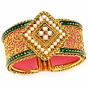 Traditional Rajwadi Gold Plated Meenakri Jali Work Pearl Stu