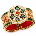 Traditional Rajwadi Gold Plated Meenakri Jali Work Pink Kada