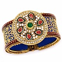 Traditional Rajwadi Gold Plated Meenakri Jali Work Blue Kada