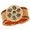 Traditional Rajwadi Gold Plated Meenakri Jali Work Orange Ka