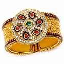 Traditional Rajwadi Gold Plated Meenakri Jali Work Yellow Ka