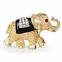 Gold Plated Elephant Shape Black Enamel and White Crystal St