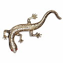 Gold Plated Lizard Shape Pink and White Crystal Sudded Fashi