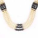 Traditional Gold Plated Multi Strand Black and White Pearl F