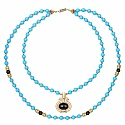 Two Tone Plated Blue Glass Beaded Multi Strand Fashion Neckl